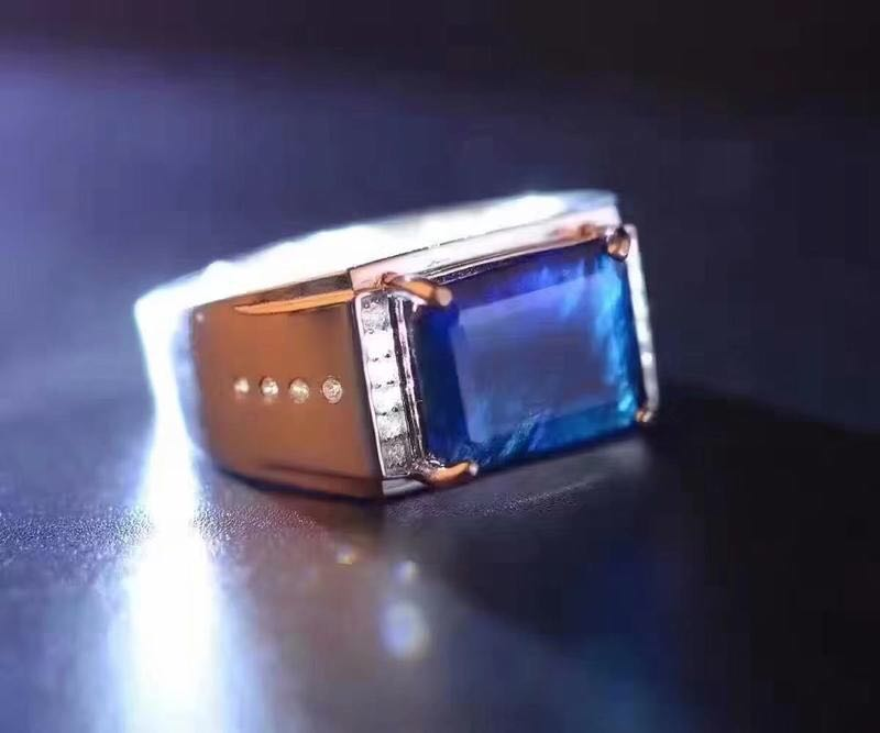 где купить Free shipping Natural Sapphire Ring 925 sterling silver Wholesales Fine jewelry Natural Sapphire Man Ring 10*12mm по лучшей цене