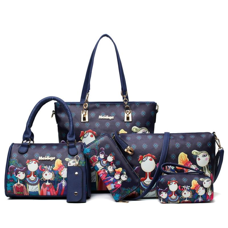 6pcs/lot women handbags shoulder bags set female leather PU composite bag high quality super practical women bag 2018 sac a main piping detail pu combination bag 6pcs