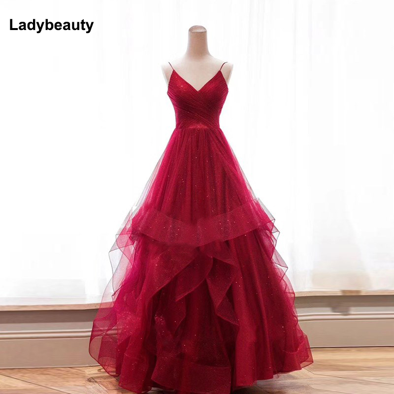 2019 New Sexy Backless Evening Dresses V NeckTulle Sleeveless Robe De Soiree Women Party Gowns Prom