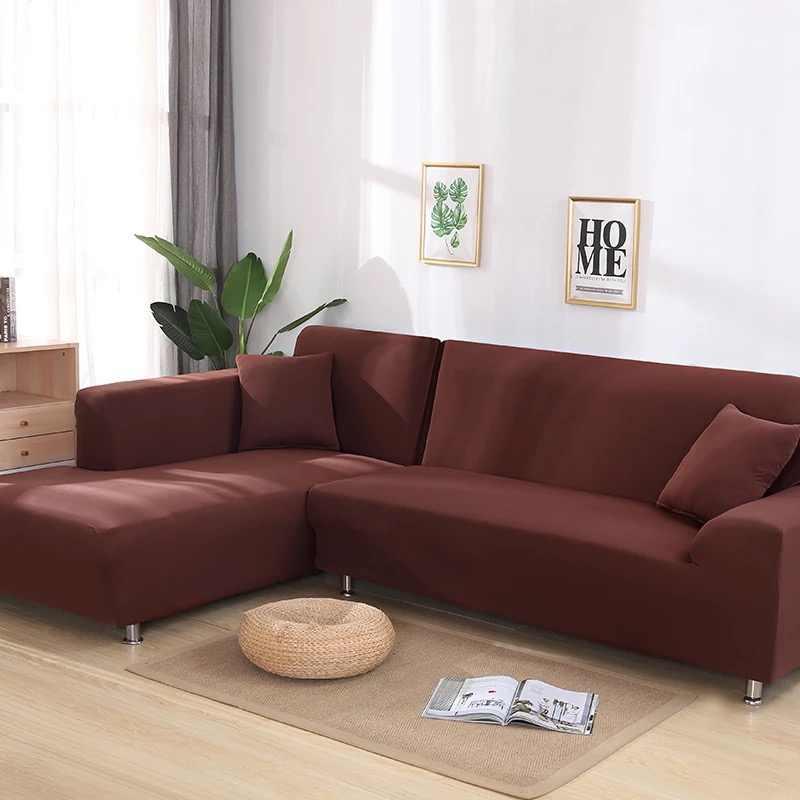 Fundas de 2 piezas para sofá en forma de L, sofá esquinero, fundas seccionales para sala de estar, fundas Longue elásticas universales