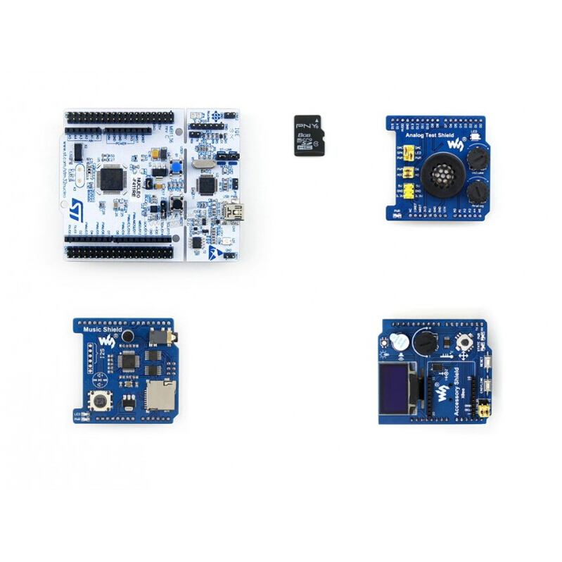ФОТО Modules NUCLEO-F411RE Package B = NUCLEO-F411RE+ Accessory Shield +Analog Test Shield +Music Shield