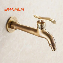 Wholesale And Retail Free Shipping NEW Single Handle Wall Mounted Antique Brass Washing Machine Tap Laundry Faucet