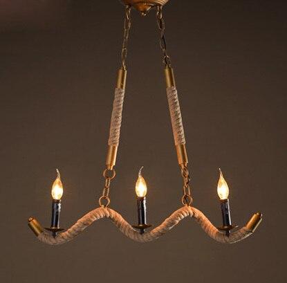 Country Style Ručně vyráběné konopné lano Lustr Vintage Lustr Restaurace Droplight obsahuje LED žárovku Doprava zdarma