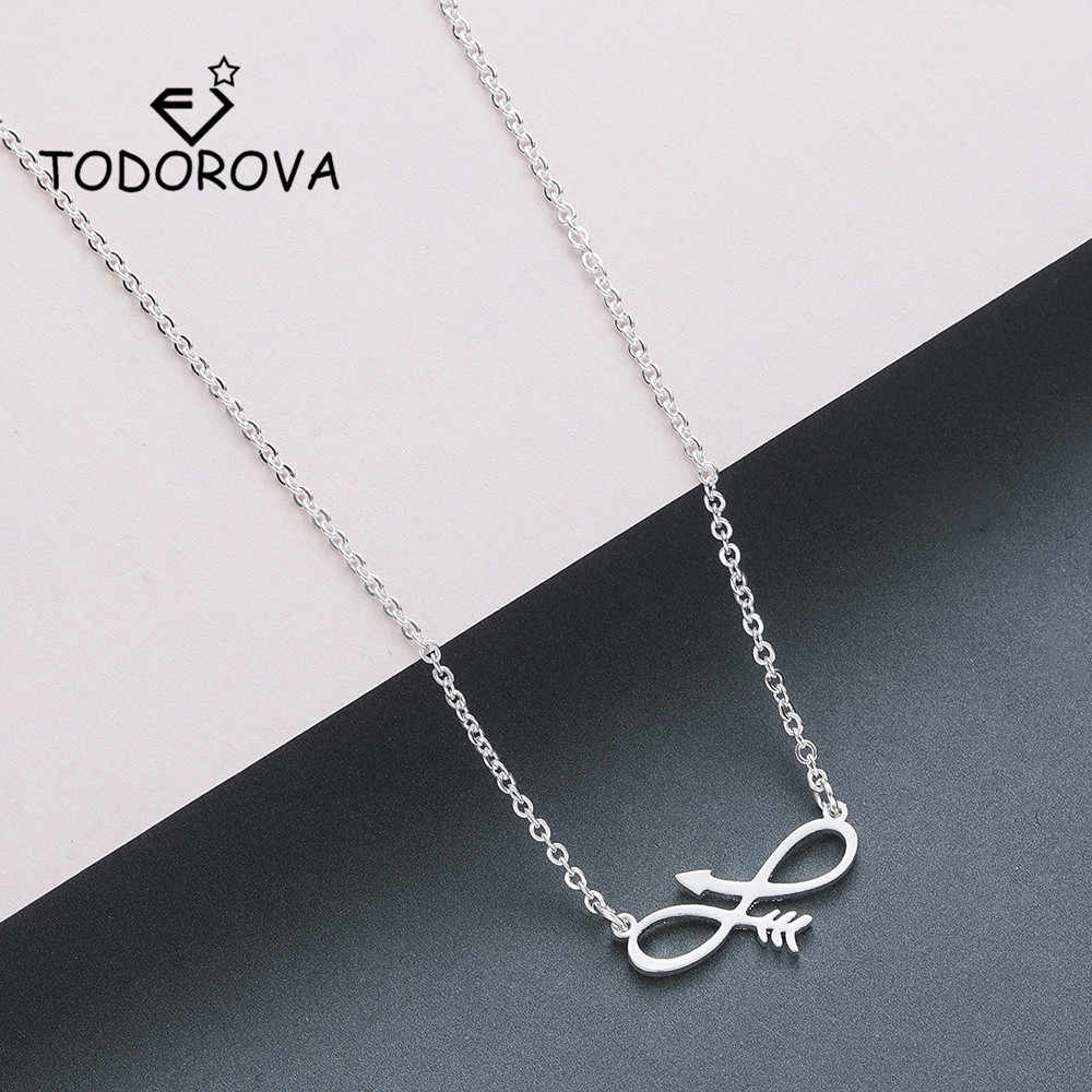 Todorova Charm Infinity Necklaces & Pendants Sideways Arrow Necklace Women Eternal Friendship Necklace Stainless Steel Jewelry