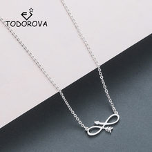 Todorova Charm Infinity Necklaces & Pendants Sideways Arrow Necklace Women Eternal Friendship Necklace Stainless Steel Jewelry(China)
