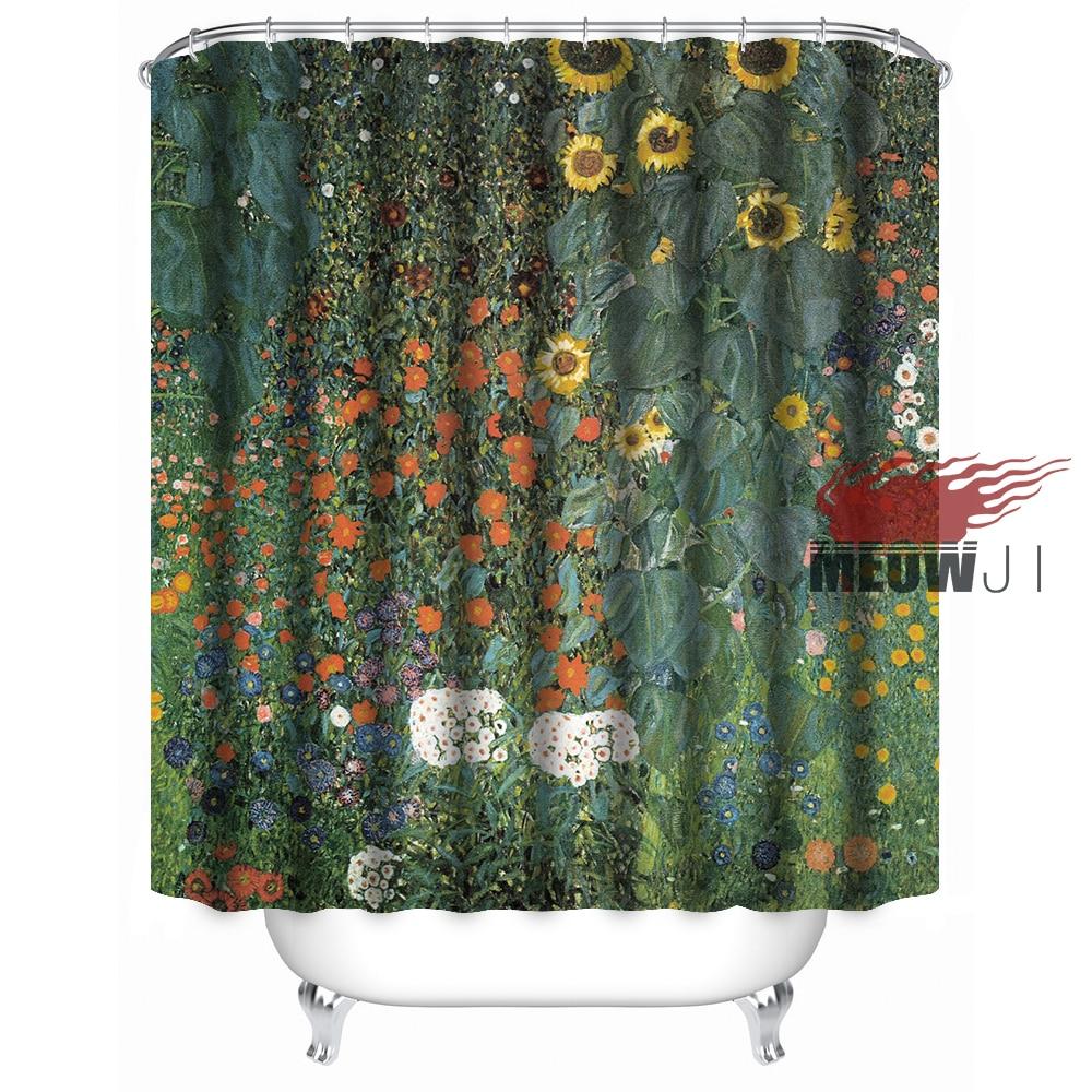 art oil painting village landscape plants flower trees vintage custom shower curtain bathroom decor various sizes