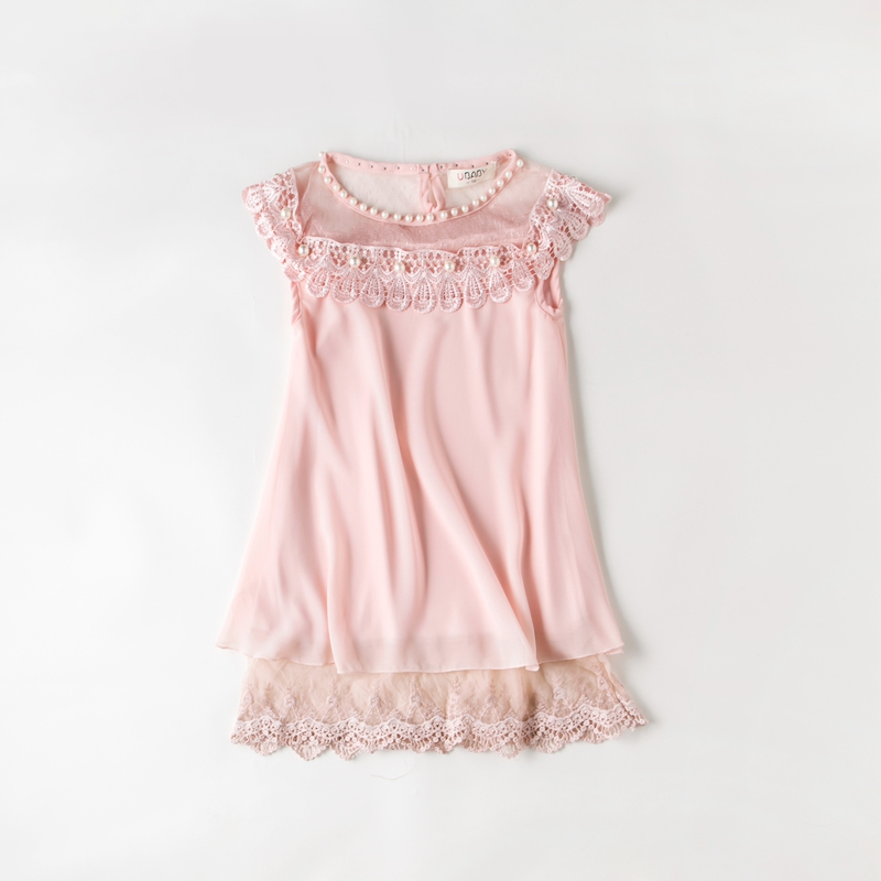 Hot Sale 2013 Summer Girls Pleated Chiffon One Piece Dress With Paillette Collar Children Colthes For