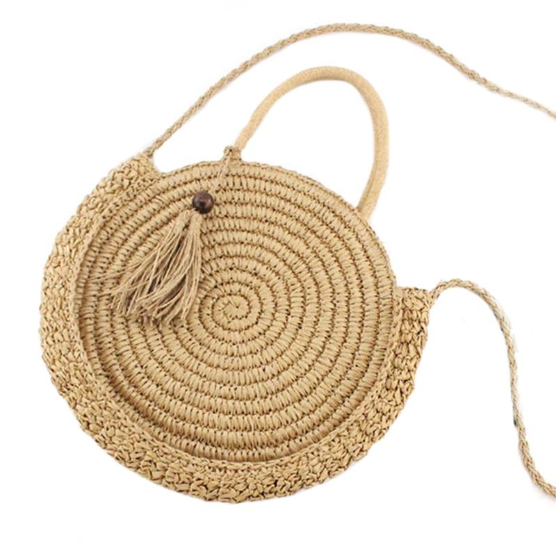 Round Fringed Straw Bag Shoulder Versatile Casual Handbags Paper Rope Woven Bag Beach BagRound Fringed Straw Bag Shoulder Versatile Casual Handbags Paper Rope Woven Bag Beach Bag