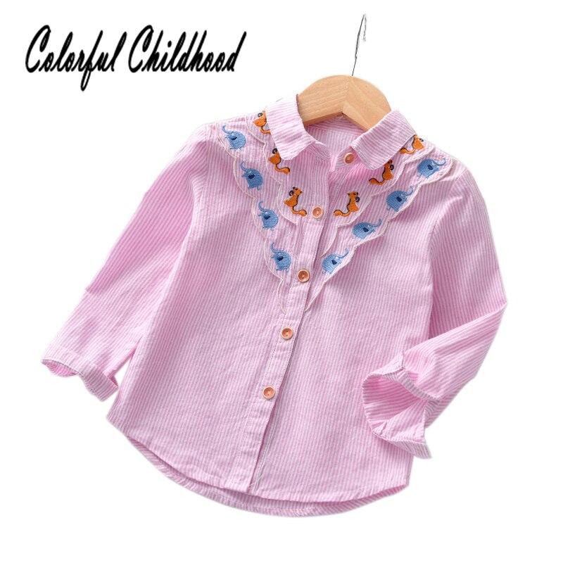 Girls Pink Cotton Striped Long Sleeve Dress With Collar Toddler Children Kid