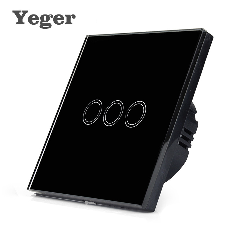 Yeger EU/UK Touch Switch LED Wall Light Switch 110-240V 3 Gang 1 Way Waterproof Crystal Tempered Glass Panels smart home eu touch switch led wall light touch switch 220v 3 gang 1 way waterproof crystal tempered glass panel