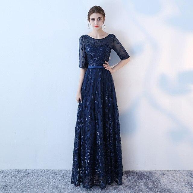 2018 Robe De Soiree Navy Blue Evening Formal Party Dress Fashion