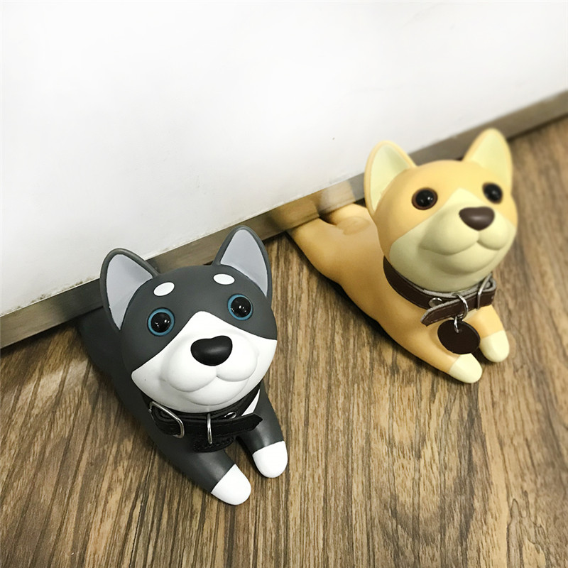 Bull Terrier PVC Protection Baby Safety Home Decoration Animal Figures Toys For Children Cute Cartoon Dog Door Stopper Holder