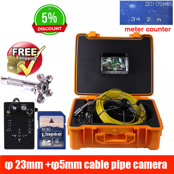 50m DVR Pipe Wall Sewer Inspection Camera System,Industrial Pipe Car Video Inspection Endoscope Camera 23mm camera 5mm cable