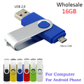 DHL 100 шт./лот Смартфон Micro USB Флэш-Ручка Привода OTG Раза хранения Компьютер U Диск Поворотный Памяти 16 Г Для ПК Android Телефон