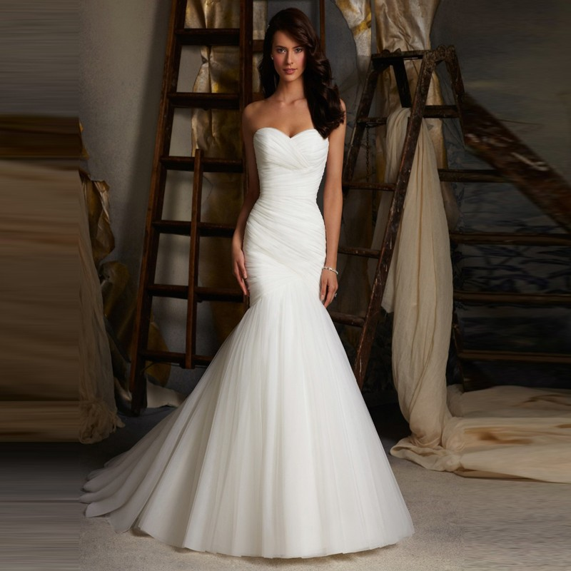 Hot sale sexy tulle strapless trumpet mermaid wedding for Tulle trumpet wedding dress