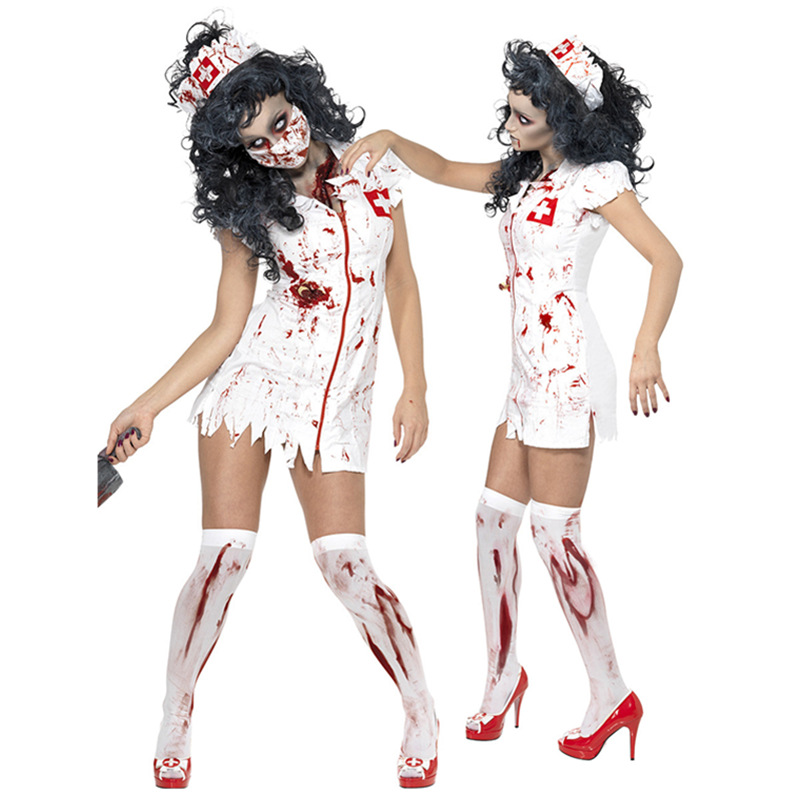 Newest Adult Halloween Scary Zombie Nurse Costume Women Sexy Nurse White Dress Halloween Party Cosplay Spooky Splatter Costume