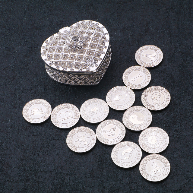 US $29 99 25% OFF|Silver English Wedding Arras Coins Filipino Wedding Unity  Coins Set Spaish Wedding Ceremony Accessories Jewelry for Bride Gift-in