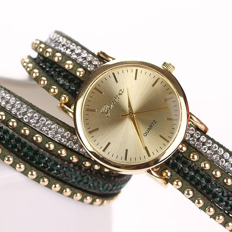 Essential Hot Relogio Feminino Fashion Women Crystal Rivet Bracelet Quartz Braided Winding Wrap WristWatch jan24