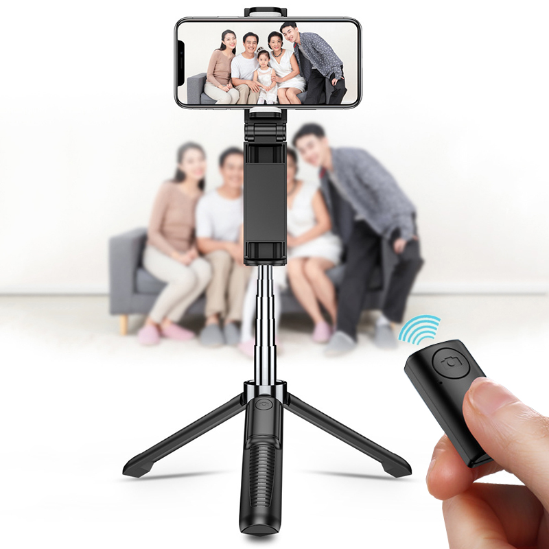 3 in 1 Wireless Bluetooth Phone Holder  For iPhone 8 X 7 6s Plus Foldable Handheld Monopod Shutter Remote Extendable Mini Tripod(China)