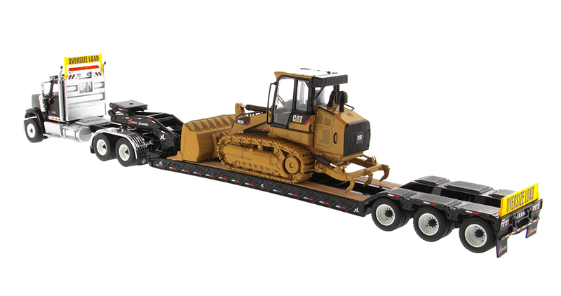 DM-85599 1:50 Международный HX520 тандем день кабина трактор с XL 120 Lowboy трейлер в черном и Cat 963K гусеничный погрузчик