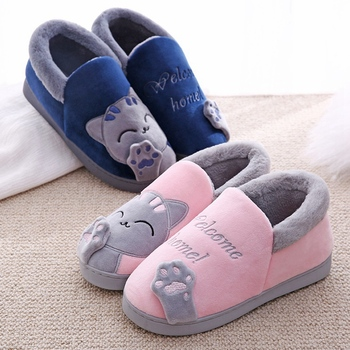 Women Slippers Winter Warm Plush House Slippers Embroidery Lovely Cat Home indoor Shoes Women Lovers Couples Zapatillas Mujer 3