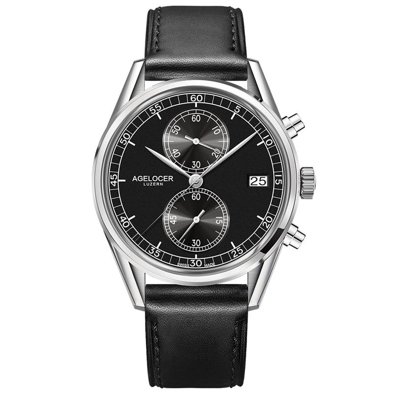 Новый agelcoer серебряный ободок обратно Кожаный ремешок наручные часы мужские Часы дизайнеры марки Повседневные часы 50 м Водонепроницаемый