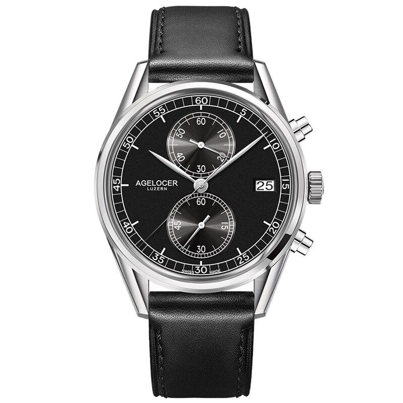 Nouveau AGELCOER argent lunette arrière en cuir bande montre-bracelet hommes montres marque Designers Quartz montres 50 m étanche