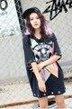 Melinda Estilo 2017 de las nuevas mujeres de moda camiseta con lentejuelas patrón de triángulo suelta la camiseta envío libre superior