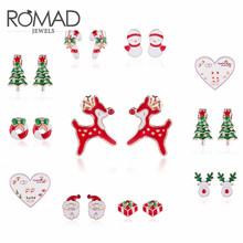 ROMAD 6 pair/ 7pair/set Christmas Stud Earring Set Santa Claus Snowman Christmas Elk Earrings Xmas Gift Fashion Jewelry R4 pair of chic snowman christmas earrings jewelry for women