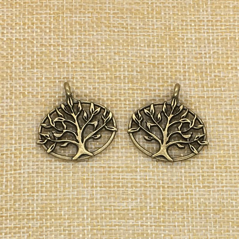 LINYONG JewelryMaking Store 20Pcs/Lot 27*27mm Tree Charms Antique Bronze Plated DIY Jewelry Making Findings