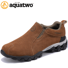 AQUATWO Hot Sale High Quality Men's Suede Leather Shoes Outdoor Trekking Breathable Shoes Walking US6.5-13.5# Plus Size Man Shoe