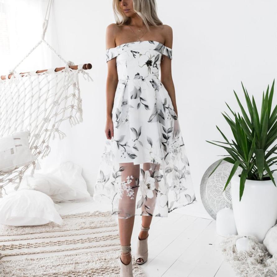 Vestidos femininos elegantes verão fora do ombro floral impresso vestido longo vestidos blancos de gala