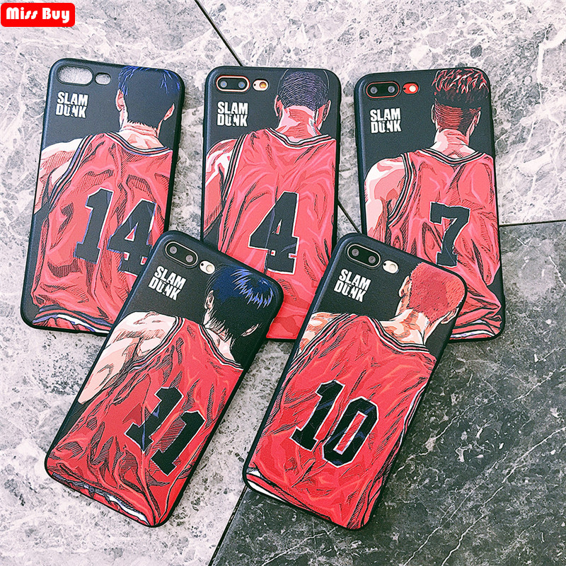 Missbuy Cute Cartoon Japanese Anime Phone Case for iPhone XR Xs Max Case for iPhone X 6 6s 7 8 Plus Coque Slam Dunk Rubber Cover feature phone