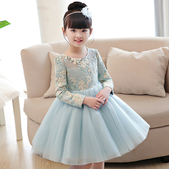 Kid baby girl party dress light blue wedding formal clothes evening gowns china elegant piano costume pageant prom teen children