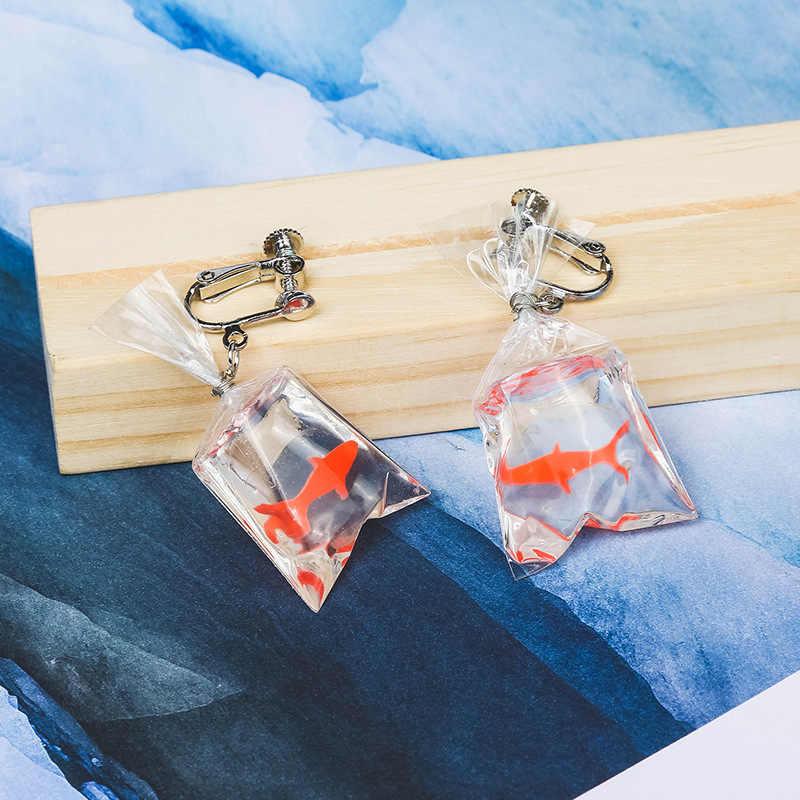 Komik el yapımı koi balık uzun mizaç Küpe Reçine şeffaf su torbası sevimli küçük goldfish kulak aksesuarları