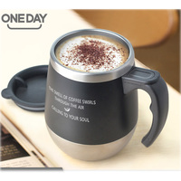 ONEDAY Coffee Mug 450ml Stainless Steel Cafe Cup Thermal Coffee Cup With Handle Milk Cup Office Bottle For Coffee Drinkware Cup