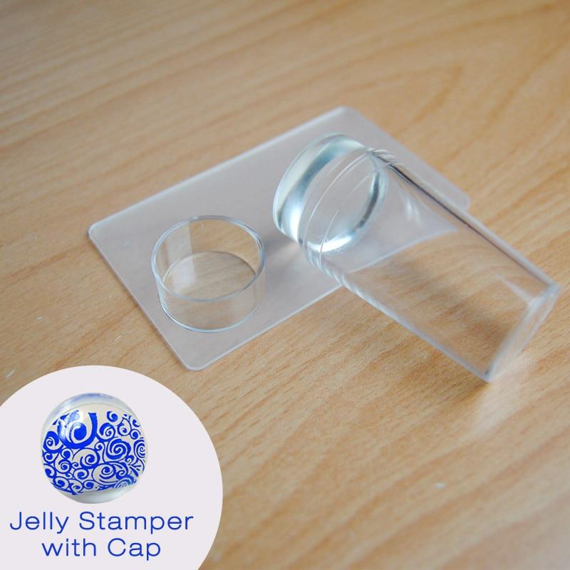 2.8 CM Hoofd Clear Jelly Siliconen Nail Art Stamper Schraper Met Cap Transparante Stempelen Polish Transfer Sjablonen Gereedschap Manicure