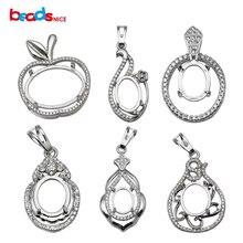 Beadsnice jewelry pendant blanks sterling silver diamond setting women necklace wholesale ID 34053