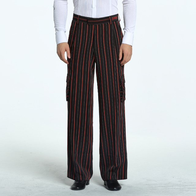 Latin Dance Pants Male Striped Trousers Modern Cha Cha Tango Dancing Clothes Men Stage Performance Ballroom Practice Wear DN2866