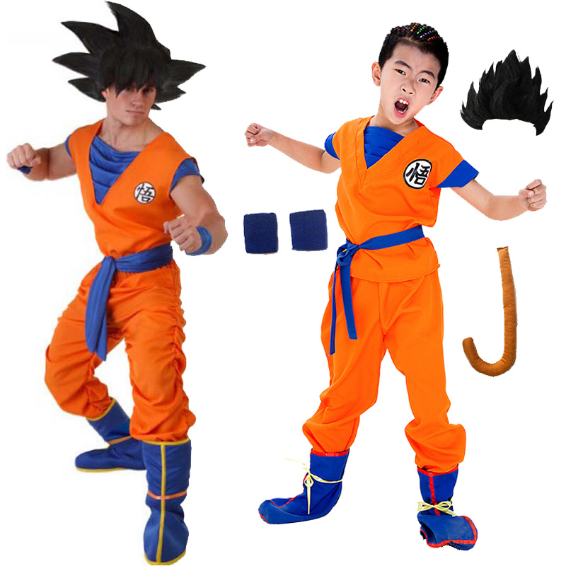 Adult Children Boy Anime Dragon Ball Costume Monkey Halloween Cosplay Wukong Clothes Kids Japanese Costume for Men