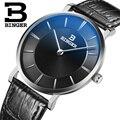 Швейцарские мужские часы BINGER  роскошные брендовые кварцевые ультратонкие наручные часы с кожаным ремешком  водонепроницаемые  1 год гарант...