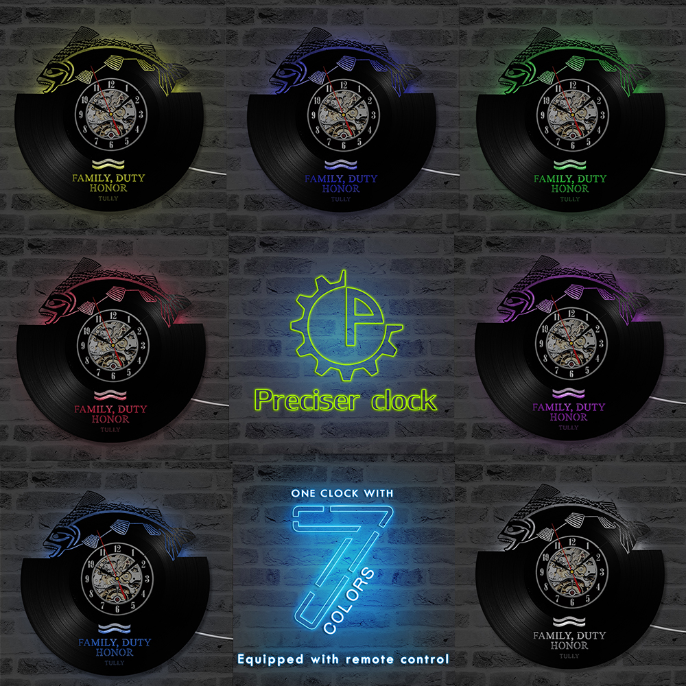 Round Hollow Fish CD Record Wall Clock Game of Thrones Family HBO Movie Characters Creative Vinyl Record Antique LED Clock