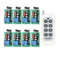 AC 220 V 1CH 10A Relay RF Wireless Remote Control Switch Wireless Light Switch 8PCS Receiver