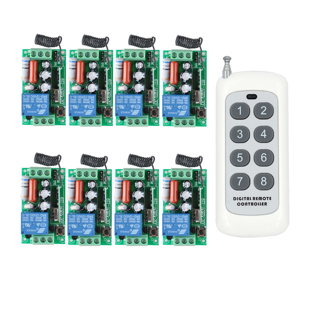 AC 220 V 1CH 10A Relais RF Sans Fil Commutateur de Commande À Distance Sans Fil Interrupteur de Lumière; 8 PCS Récepteur + 1000 m Émetteur