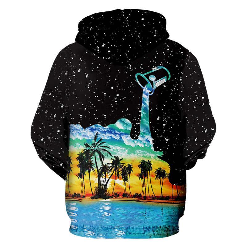 Ogкб зимние женские/мужские хип-хоп Уличная Звездные спортивные толстовки с изображением неба пуловеры с длинными рукавами с принтом чашка Pour Milk 3D Толстовка Толстовки