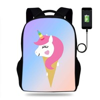 Buleflye Unicorn Design Backpacks School Bags Usb Charge SchoolBags for girls orthopedic packbag mochilar book Bag