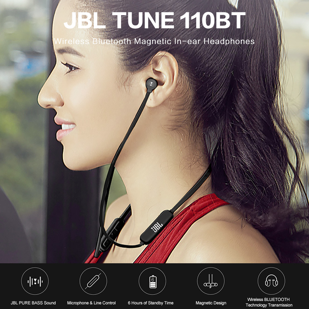 JBL TUNE T110BT Wireless Bluetooth Headphones Magnetic Sports Headset Music Earphones Support Handsfree Calls with Mic
