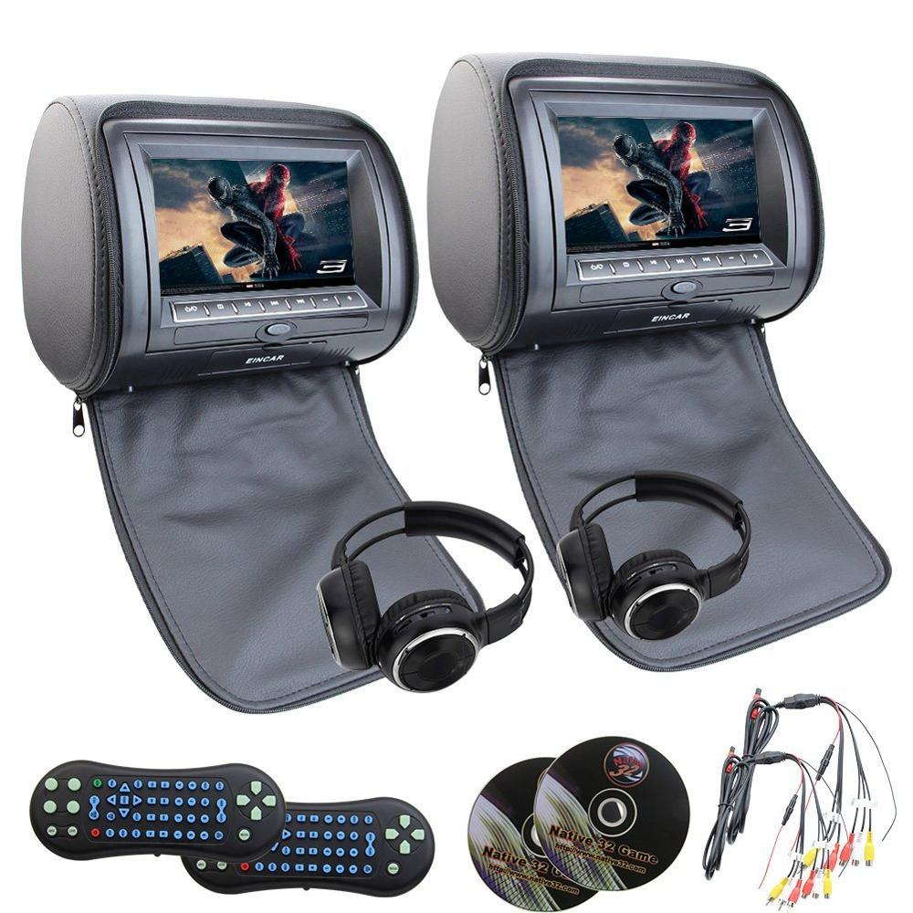 Car vehicle cd DVD palyer 2xHeadrest pillow Monitor mp3/mp4/cd SD/USB 32 bit Games player FM IR car seat headrest+2 IR headphone eincar car 9 inch car dvd pillow headrest two monitor lcd screen usb sd 32 bit game fm ir multimedia player free 2 ir headphones