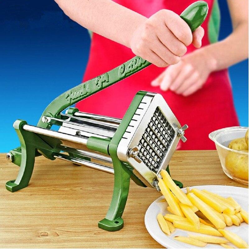 Acier inoxydable usage domestique manuel frites cutter pomme de terre, pommes de terre chips bande coupe machine main presse fruits légumes trancheuse
