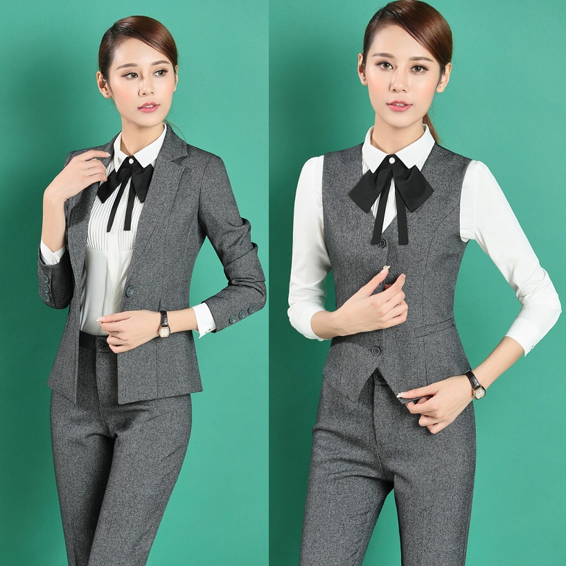 Formal Professional Business Work Suits 4 pieces With Jackets Pants Vest font b Blouses b font